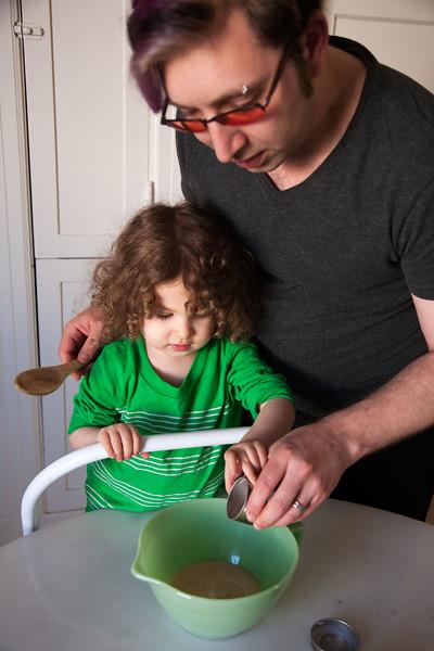 Helping Daddy Mix Wet Ingredients