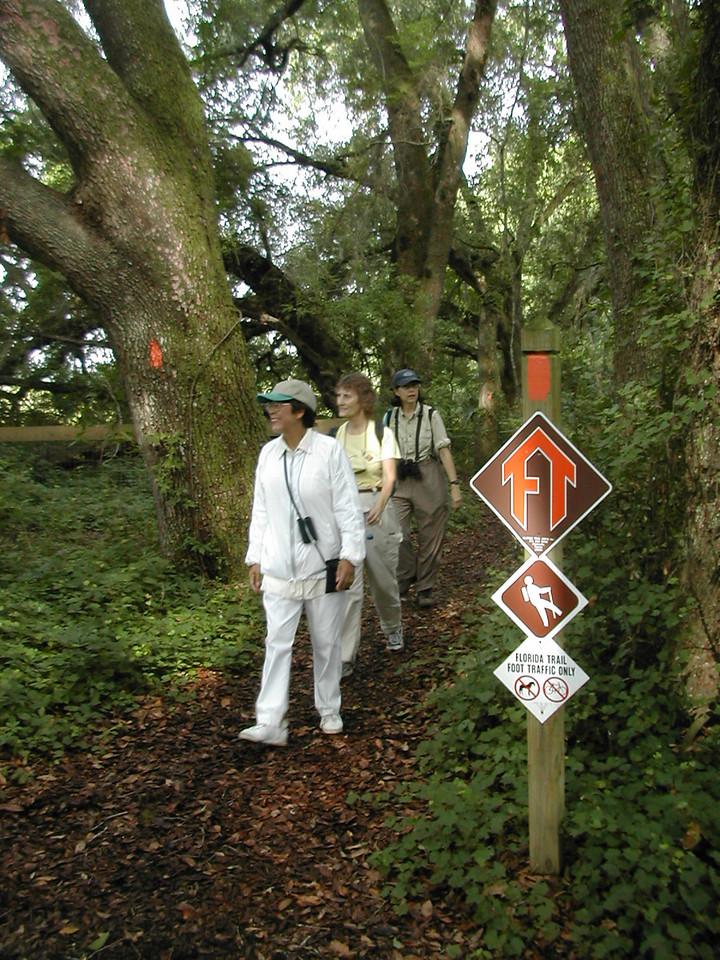 Hikers at the Land Bridge Trailhead<br /> PHOTO CREDIT: Florida Trail Association / Sandra Friend