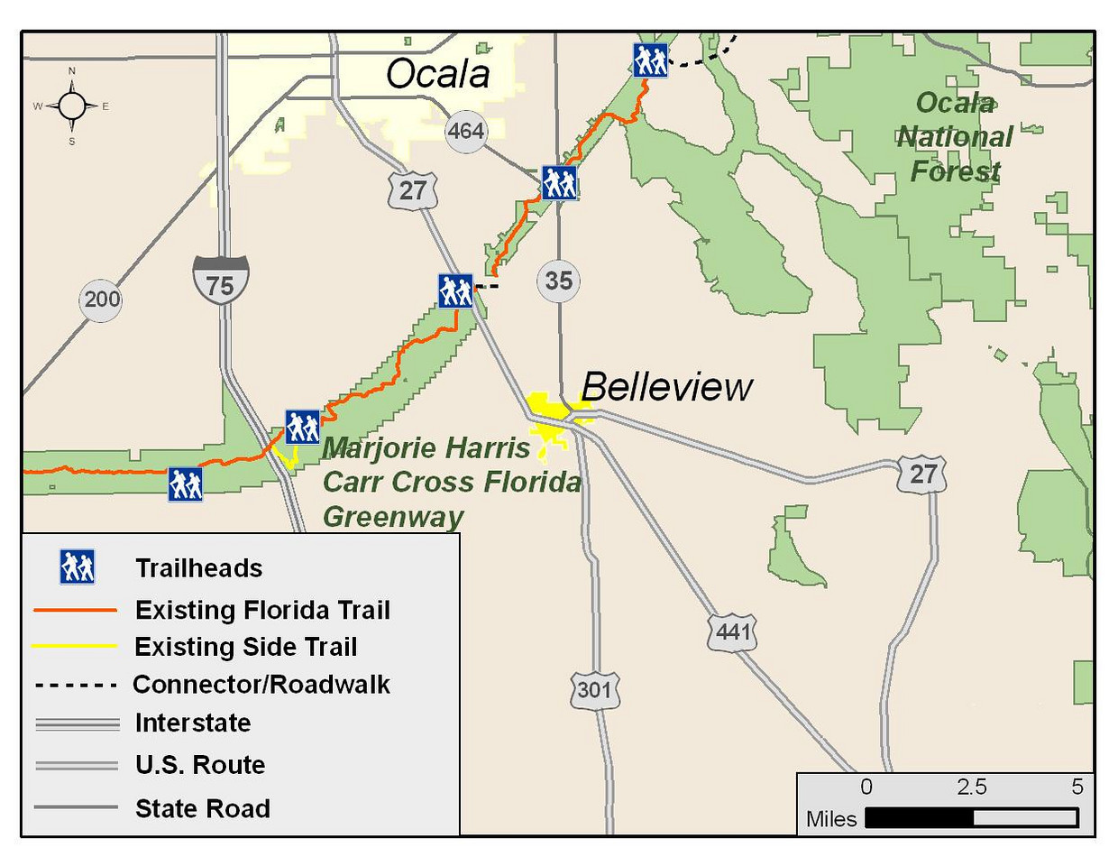 A map of the Florida Trail in relation to Belleview.