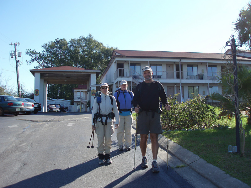 Florida Trail hikers leaving the Super 8<br /> PHOTO CREDIT: Robert Coveney / Florida Trail Association