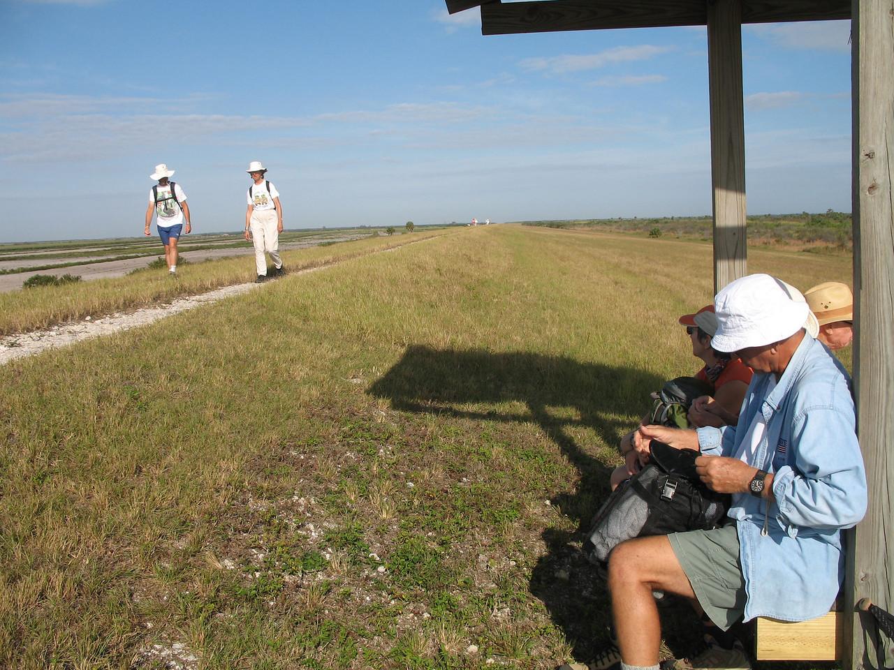 Rest break along the trail at Moore Haven (Sandra Friend)