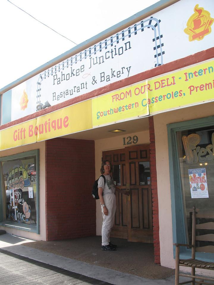 Ginny Detzner enters the Pahokee Junction restaurant (Sandra Friend)