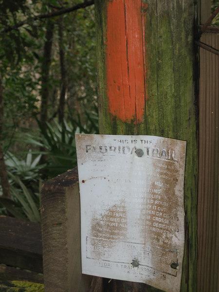 1960s Florida Trail sign near White Springs<br /> PHOTO CREDIT: Sandra Friend / Florida Trail Association