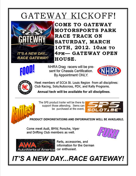 Gateway Motorsports Park to have their 2012 kickoff on Saturday, March 10th!