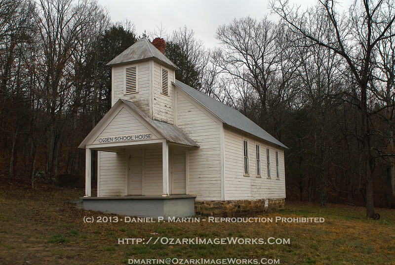 Ogden Schoolhouse - Madison County, AR<br /> <br /> Located approximately 0.4 miles east from the Intersection of AR Highway 23 and Madison Co road 3105, or about 15 miles SE of Huntsville.  The Ogden Cemetery is on the opposite side of Madison 3105 a bit further east.<br /> <br /> DSC_0770