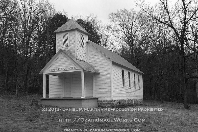 Ogden Schoolhouse - Madison County, AR - B&W rendering<br /> <br /> Located approximately 0.4 miles east from the Intersection of AR Highway 23 and Madison Co road 3105, or about 15 miles SE of Huntsville.  The Ogden Cemetery is on the opposite side of Madison 3105 a bit further east.<br /> <br /> DSC_0770