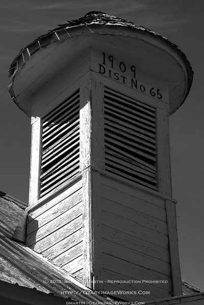 Boston schoolhouse detail - Bell Tower - Boston, AR<br /> <br /> First school east of the Pettigrew, AR railway terminus. Established 1909, still hanging on in 2013.<br /> <br /> DSC_0051
