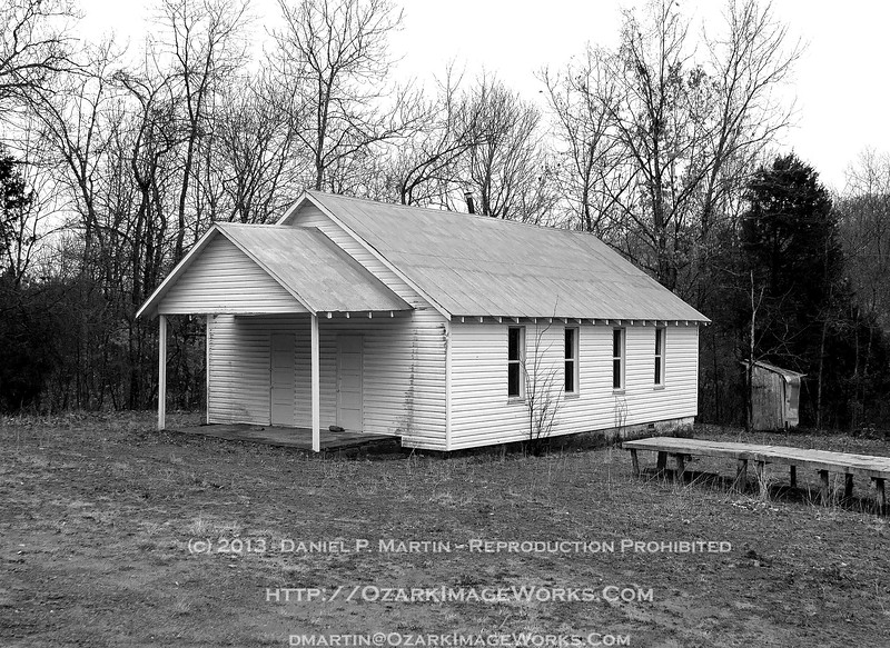 Cove Schoolhouse - Madison County, AR - B&W rendering<br /> <br /> Intersection of Madison Co roads 3105 and 3255, about 18 miles SE of Huntsville.<br /> <br /> DSC_0737