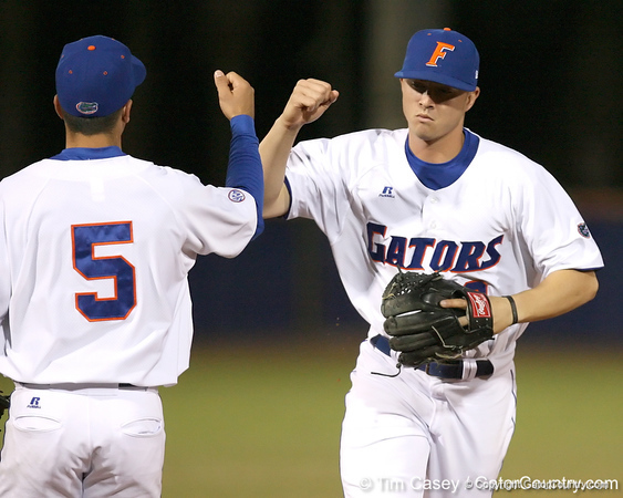 photo by Tim Casey<br /> <br /> Florida sophomore Josh Adams walks off of the field during the Gators' 6-3 win on Friday, February 20, 2009 at McKethan Stadium in Gainesville, Fla.