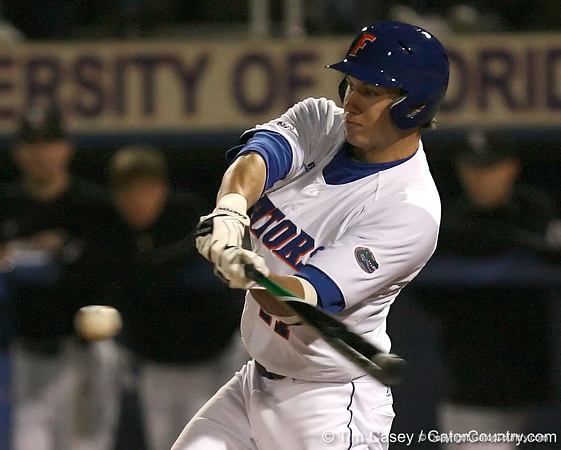 photo by Tim Casey<br /> <br /> Florida junior Matt den Dekker flies out to center field during the second inning of the Gators' 6-3 win on Friday, February 20, 2009 at McKethan Stadium in Gainesville, Fla.