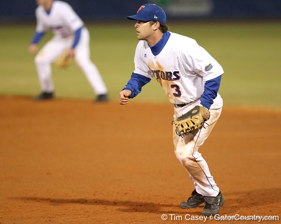 photo by Tim Casey<br /> <br /> Florida senior first baseman Brandon McArthur gets ready during the eighth inning of the Gators' 6-3 win on Friday, February 20, 2009 at McKethan Stadium in Gainesville, Fla.