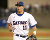 photo by Tim Casey<br /> <br /> Florida sophomore outfielder Riley Cooper walks off of the field during the second inning of the Gators' 6-3 win on Friday, February 20, 2009 at McKethan Stadium in Gainesville, Fla.