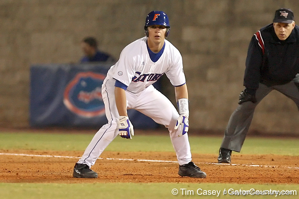photo by Tim Casey<br /> <br /> Florida junior catcher Buddy Munroe leads off of first base during the seventh inning of the Gators' 6-3 win on Friday, February 20, 2009 at McKethan Stadium in Gainesville, Fla.