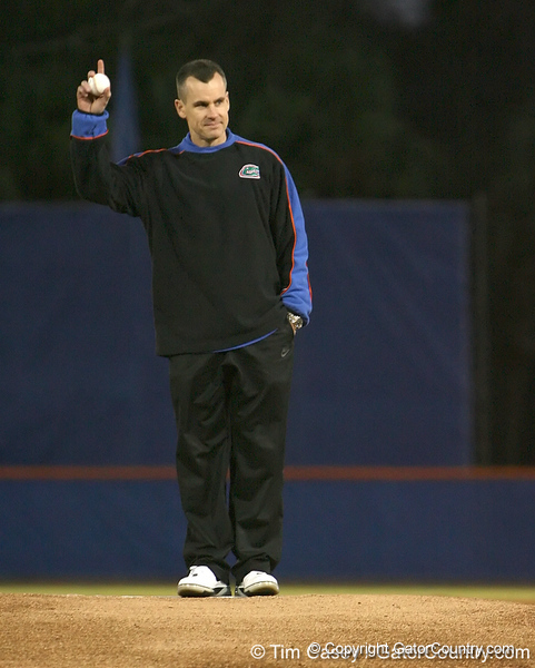 photo by Tim Casey<br /> <br /> Florida basketball head coach Billy Donovan throws out the first pitch before the Gators' 6-3 win on Friday, February 20, 2009 at McKethan Stadium in Gainesville, Fla.