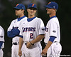 photo by Tim Casey<br /> <br /> Florida sophomore Josh Adams and Florida senior Avery Barnes talk before the Gators' 6-3 win on Friday, February 20, 2009 at McKethan Stadium in Gainesville, Fla.