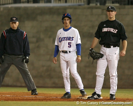 photo by Tim Casey<br /> <br /> Florida junior shortstop Mike Mooney takes a lead off of first base during the second inning of the Gators' 6-3 win on Friday, February 20, 2009 at McKethan Stadium in Gainesville, Fla.