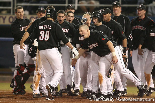 photo by Tim Casey<br /> <br /> Adam Duvall is greeted after hitting a home run during the seventh inning of the Gators' 6-3 win on Friday, February 20, 2009 at McKethan Stadium in Gainesville, Fla.