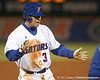 photo by Tim Casey<br /> <br /> Florida senior first baseman Brandon McArthur reacts after hitting a two-RBI triple during the first inning of the Gators' 6-3 win on Friday, February 20, 2009 at McKethan Stadium in Gainesville, Fla.