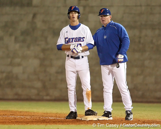 photo by Tim Casey<br /> <br /> Florida senior Avery Barnes stands on first base after hitting an RBI single during the seventh inning of the Gators' 6-3 win on Friday, February 20, 2009 at McKethan Stadium in Gainesville, Fla.