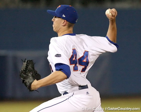 photo by Tim Casey<br /> <br /> Florida junior pitcher Billy Bullock winds up during the ninth inning of the Gators' 6-3 win on Friday, February 20, 2009 at McKethan Stadium in Gainesville, Fla.