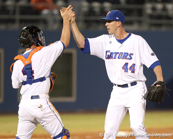 photo by Tim Casey<br /> <br /> Florida junior pitcher Billy Bullock react after getting Adam Duvall to fly out to center field and end the Gators' 6-3 win on Friday, February 20, 2009 at McKethan Stadium in Gainesville, Fla.