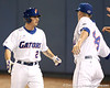 photo by Tim Casey<br /> <br /> Florida sophomore Josh Adams reacts after scoring on a 2-RBI triple by Brandon McArthur during the first inning of the Gators' 6-3 win on Friday, February 20, 2009 at McKethan Stadium in Gainesville, Fla.