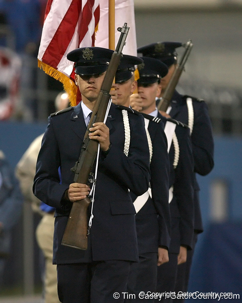 photo by Tim Casey<br /> <br /> Members of the Air Force ROTC present the colors the Gators' 6-3 win on Friday, February 20, 2009 at McKethan Stadium in Gainesville, Fla.