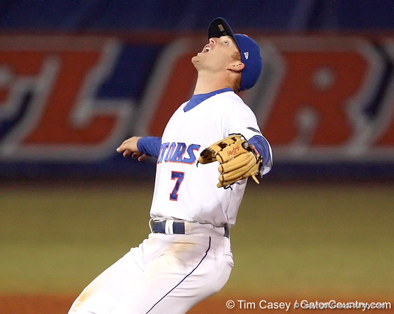 photo by Tim Casey<br /> <br /> Florida junior Clayton Pisani catches a pop fly by Chris Dominguez during the eighth inning of the Gators' 6-3 win on Friday, February 20, 2009 at McKethan Stadium in Gainesville, Fla.