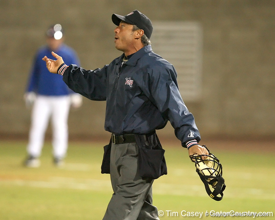 photo by Tim Casey<br /> <br /> Home plate umpire A.J. Lostaglio calls a balk during the second inning of the Gators' 6-3 win on Friday, February 20, 2009 at McKethan Stadium in Gainesville, Fla.