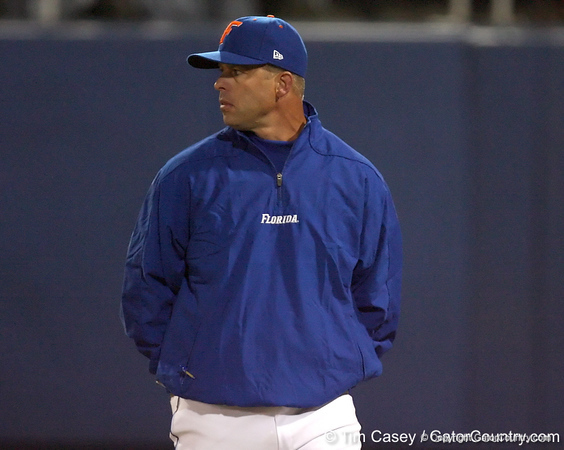 photo by Tim Casey<br /> <br /> Florida baseball head coach Kevin O'Sullivan watches during the sixth inning of the Gators' 6-3 win on Friday, February 20, 2009 at McKethan Stadium in Gainesville, Fla.