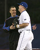photo by Tim Casey<br /> <br /> Florida basketball head coach Billy Donovan jokes with senior catcher Teddy Foster before the Gators' 6-3 win on Friday, February 20, 2009 at McKethan Stadium in Gainesville, Fla.
