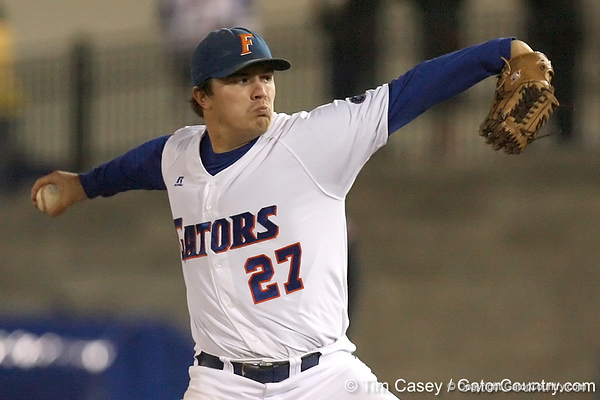 photo by Tim Casey<br /> <br /> Florida senior pitcher Patrick Keating winds up during the seventh inning of the Gators' 6-3 win on Friday, February 20, 2009 at McKethan Stadium in Gainesville, Fla.