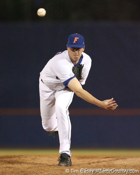 photo by Tim Casey<br /> <br /> Florida junior pitcher Billy Bullock warms up during the eighth inning of the Gators' 6-3 win on Friday, February 20, 2009 at McKethan Stadium in Gainesville, Fla.
