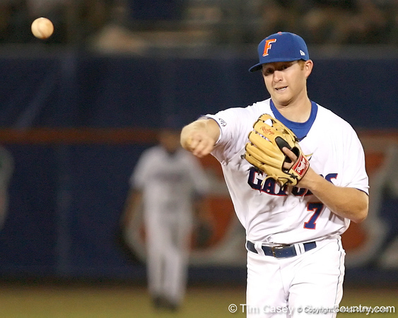 photo by Tim Casey<br /> <br /> Florida junior Clayton Pisani throws out Chris Herrmann at first base  during the seventh inning of the Gators' 8-5 loss to the Miami Hurricanes on Friday, February 27, 2009 at McKethan Stadium in Gainesville, Fla.