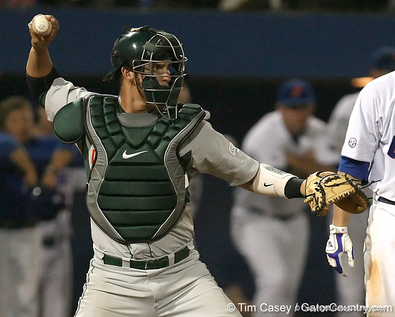 photo by Tim Casey<br /> <br /> Yasmani Grandal returns the ball to the pitcher during the ninth inning of the Gators' 8-5 loss to the Miami Hurricanes on Friday, February 27, 2009 at McKethan Stadium in Gainesville, Fla.
