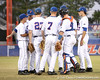 photo by Tim Casey<br /> <br /> Florida's starting lineup takes the field before the Gators' 8-5 loss to the Miami Hurricanes on Friday, February 27, 2009 at McKethan Stadium in Gainesville, Fla.
