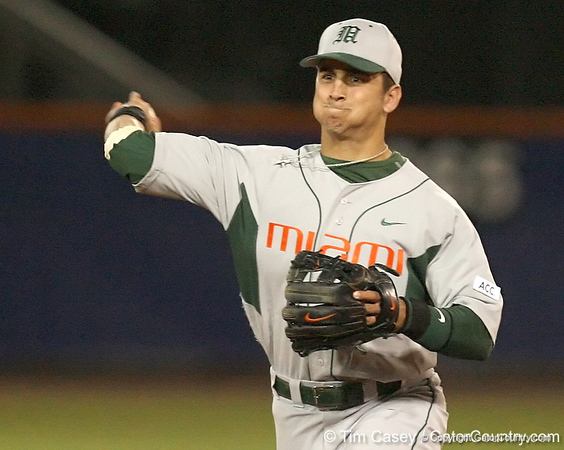 photo by Tim Casey<br /> <br /> Scott Lawson throws out Mike Mooney at first base during the seventh inning of the Gators' 8-5 loss to the Miami Hurricanes on Friday, February 27, 2009 at McKethan Stadium in Gainesville, Fla.