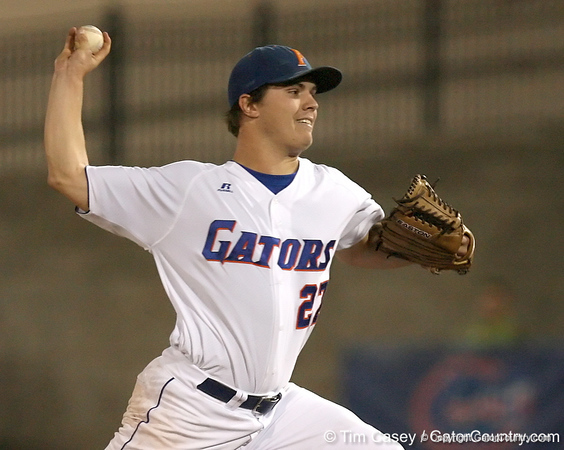 photo by Tim Casey<br /> <br /> Florida senior pitcher Patrick Keating winds up during the third inning of the Gators' 8-5 loss to the Miami Hurricanes on Friday, February 27, 2009 at McKethan Stadium in Gainesville, Fla.
