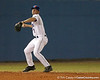 photo by Tim Casey<br /> <br /> Florida sophomore Josh Adams attempts to throw out Dave DiNatale  during the eighth inning of the Gators' 8-5 loss to the Miami Hurricanes on Friday, February 27, 2009 at McKethan Stadium in Gainesville, Fla.