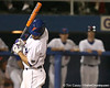 photo by Tim Casey<br /> <br /> Florida senior first baseman Brandon McArthur gets hit by a pitch during the eighth inning of the Gators' 8-5 loss to the Miami Hurricanes on Friday, February 27, 2009 at McKethan Stadium in Gainesville, Fla.