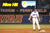 photo by Tim Casey<br /> <br /> Florida sophomore Josh Adams stands on second base after hitting an RBI ground rule double during the third inning of the Gators' 8-5 loss to the Miami Hurricanes on Friday, February 27, 2009 at McKethan Stadium in Gainesville, Fla.