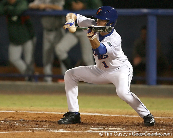 photo by Tim Casey<br /> <br /> Florida senior Avery Barnes executes a sacrifice bunt during the third inning of the Gators' 8-5 loss to the Miami Hurricanes on Friday, February 27, 2009 at McKethan Stadium in Gainesville, Fla.