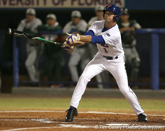 photo by Tim Casey<br /> <br /> Florida senior Avery Barnes strikes out swinging during the first inning of the Gators' 8-5 loss to the Miami Hurricanes on Friday, February 27, 2009 at McKethan Stadium in Gainesville, Fla.