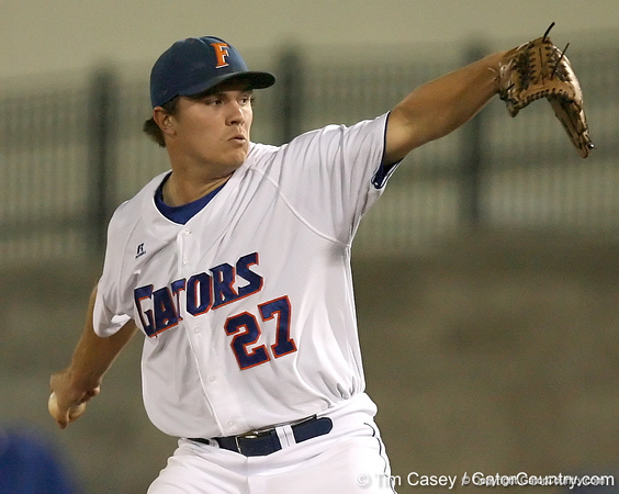 photo by Tim Casey<br /> <br /> Florida senior pitcher Patrick Keating winds up during the second inning of the Gators' 8-5 loss to the Miami Hurricanes on Friday, February 27, 2009 at McKethan Stadium in Gainesville, Fla.
