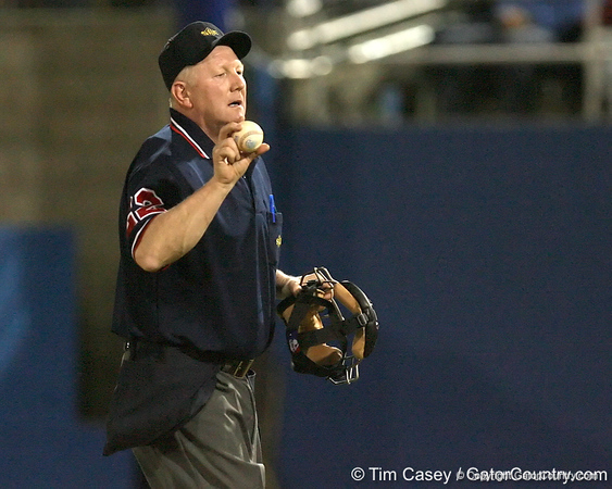 photo by Tim Casey<br /> <br /> Nelson Graham throws a ball to the dugout during the second inning of the Gators' 8-5 loss to the Miami Hurricanes on Friday, February 27, 2009 at McKethan Stadium in Gainesville, Fla.