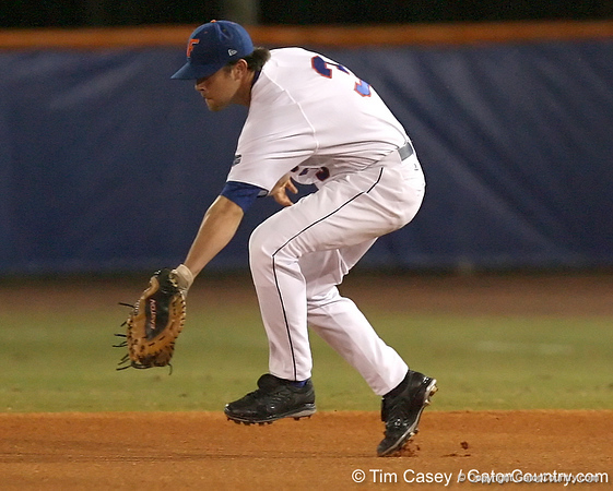 photo by Tim Casey<br /> <br /> Florida senior first baseman Brandon McArthur fields a ground ball during the second inning of the Gators' 8-5 loss to the Miami Hurricanes on Friday, February 27, 2009 at McKethan Stadium in Gainesville, Fla.