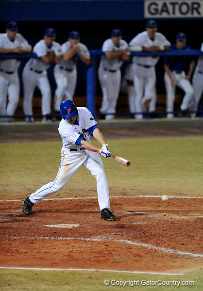 Sophomore infielder Josh Adams prepares to hits the ball during the Gators' 8-5 loss to the Miami Hurricanes at McKethan Stadium / Gator Country photo by Casey Brooke Lawson