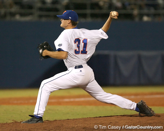 photo by Tim Casey<br /> <br /> Florida freshman pitcher Will Jolin winds up during the eighth inning of the Gators' 8-5 loss to the Miami Hurricanes on Friday, February 27, 2009 at McKethan Stadium in Gainesville, Fla.