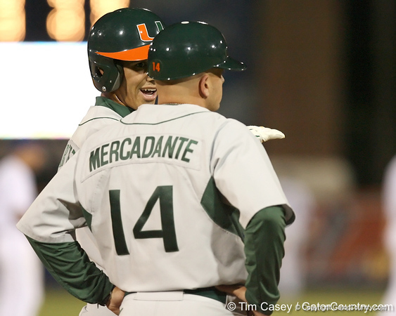 photo by Tim Casey<br /> <br /> Harold Martinez stands on third base during the fourth inning of the Gators' 8-5 loss to the Miami Hurricanes on Friday, February 27, 2009 at McKethan Stadium in Gainesville, Fla.