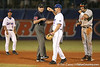 photo by Tim Casey<br /> <br /> Florida junior Clayton Pisani returns the ball to the pitcher after a play that was negated by a walk during the eighth inning of the Gators' 8-5 loss to the Miami Hurricanes on Friday, February 27, 2009 at McKethan Stadium in Gainesville, Fla.